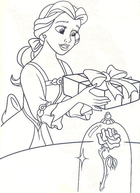 Xmasbellegift Jpg 560 771 Coloring Pages Belle Coloring Pages Disney Coloring Pages