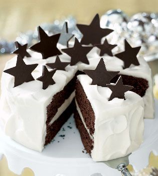 White Chocolate Truffle and Chocolate Fudge Layer Cake Desserts