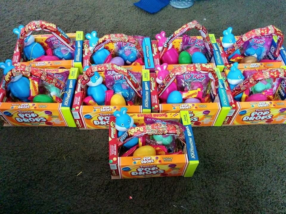 Easter basket made out of candy glue boxes together add