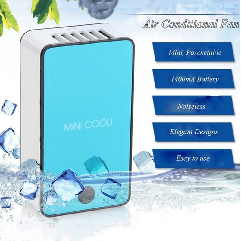 blue Portable Handheld USB Mini Air Conditioner Cooler Fan With Rechargeable Battery