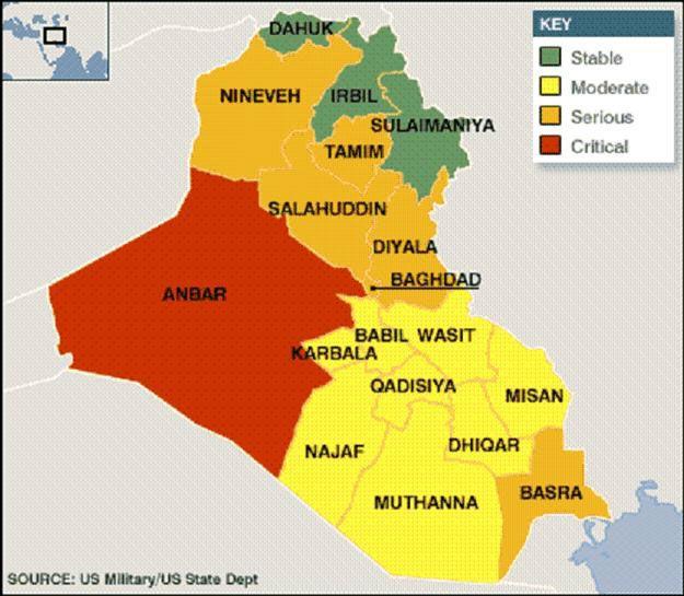 Kurds in Iraq IRAQ STABILITY MAP APRIL 2006 source US MilitaryUS