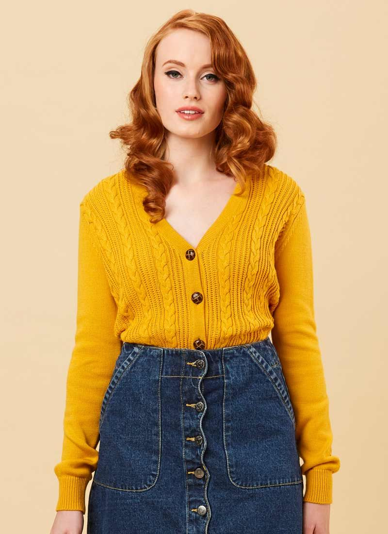 Linda Cable Knit Cardigan Mustard Yellow in 2020 | Cable