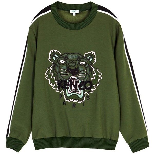 bf0b7b79 KENZO Tiger-embroidered Crepe Sweatshirt - Size L ($455) ❤ liked on  Polyvore featuring tops, hoodies, sweatshirts, striped top, embroidery top,  ...