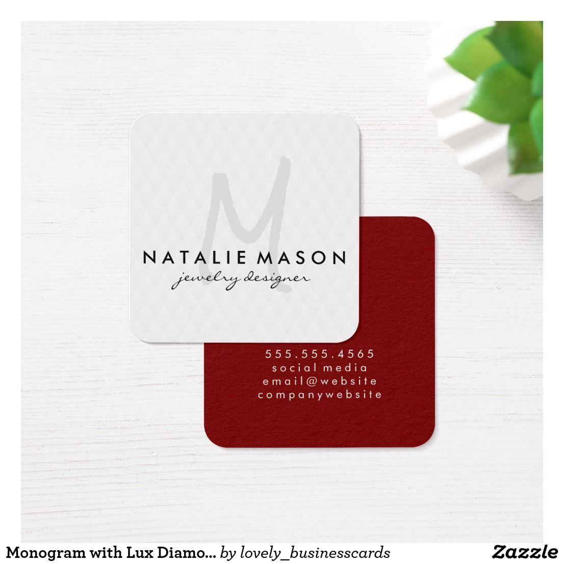 Monogram With Lux Diamond Pattern Square Business Card Business Cards