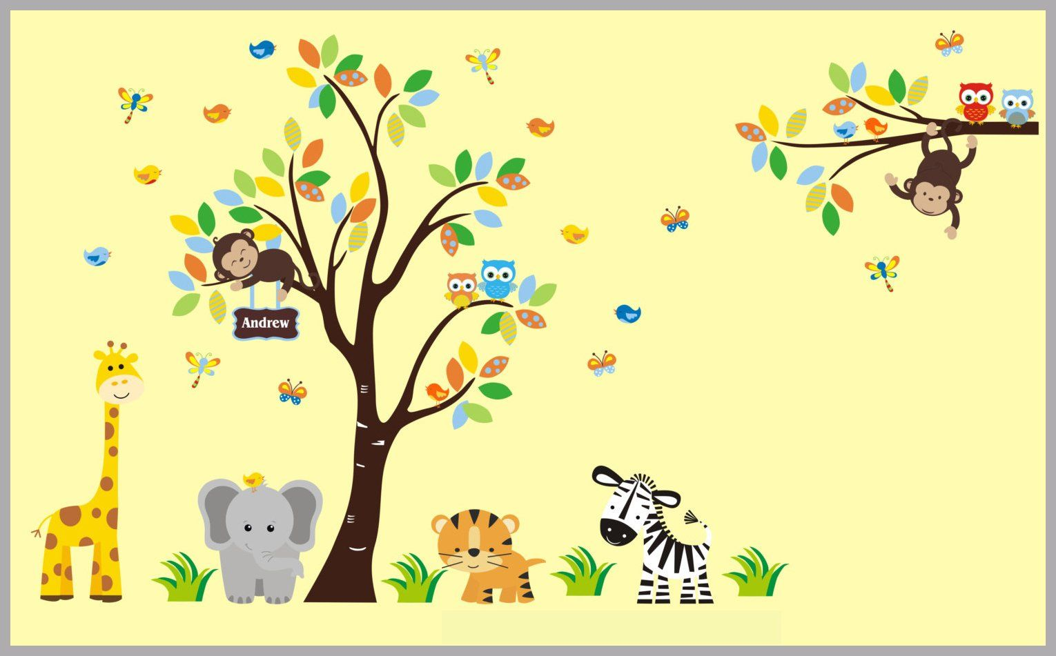 Baby Boys Design - Nursery Art Decor - Jungle Safari Animals Wall ...