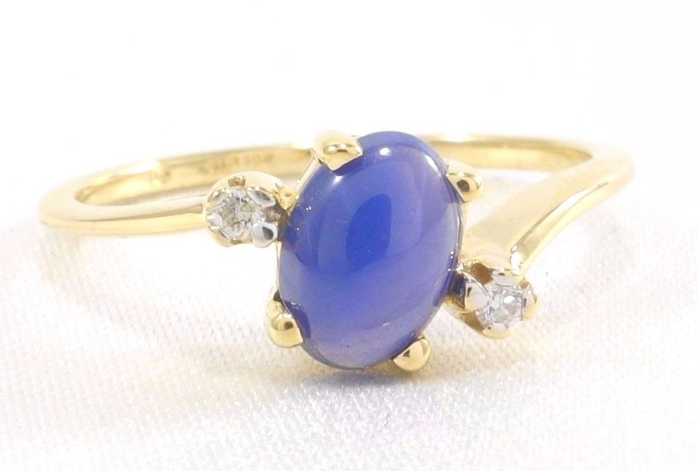 10k Solid Gold Star Sapphire Diamond Accent Ring Royal Blue Gemstone Star Sapphire Gemstone Sapphire Diamond Ring Sapphire Diamond