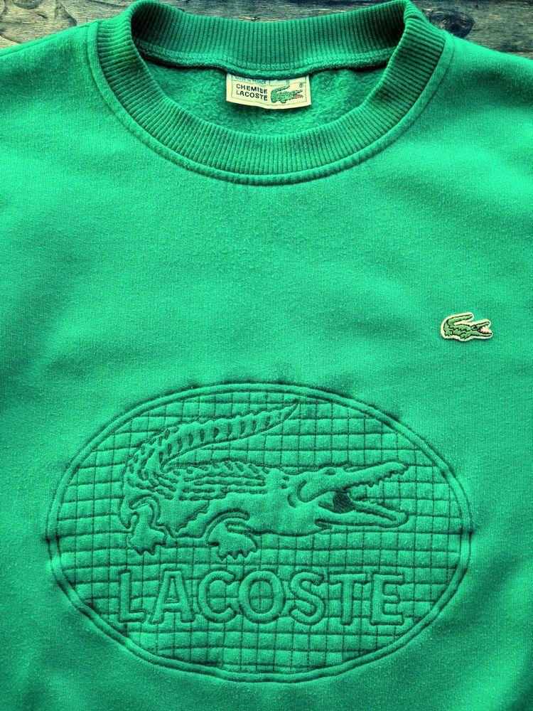 Lacoste Mens Large 5 Vintage Green Crocodile Emblem Sweatshirt Jumper Top Vintage Clothes 90s Lacoste Vintage
