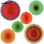 6x Fiesta Colorful Paper Fans Mexican Independence Day Theme Party Decorations