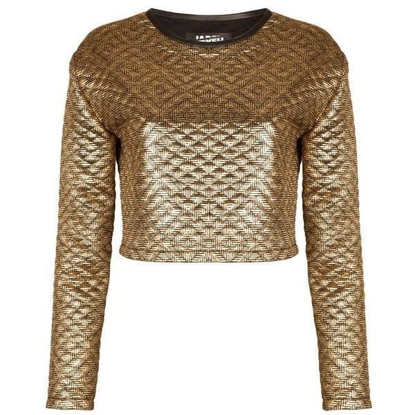 8f2f112d62f Jaded London Gold quilted long sleeve crop top (110 RON) ❤ liked on Polyvore