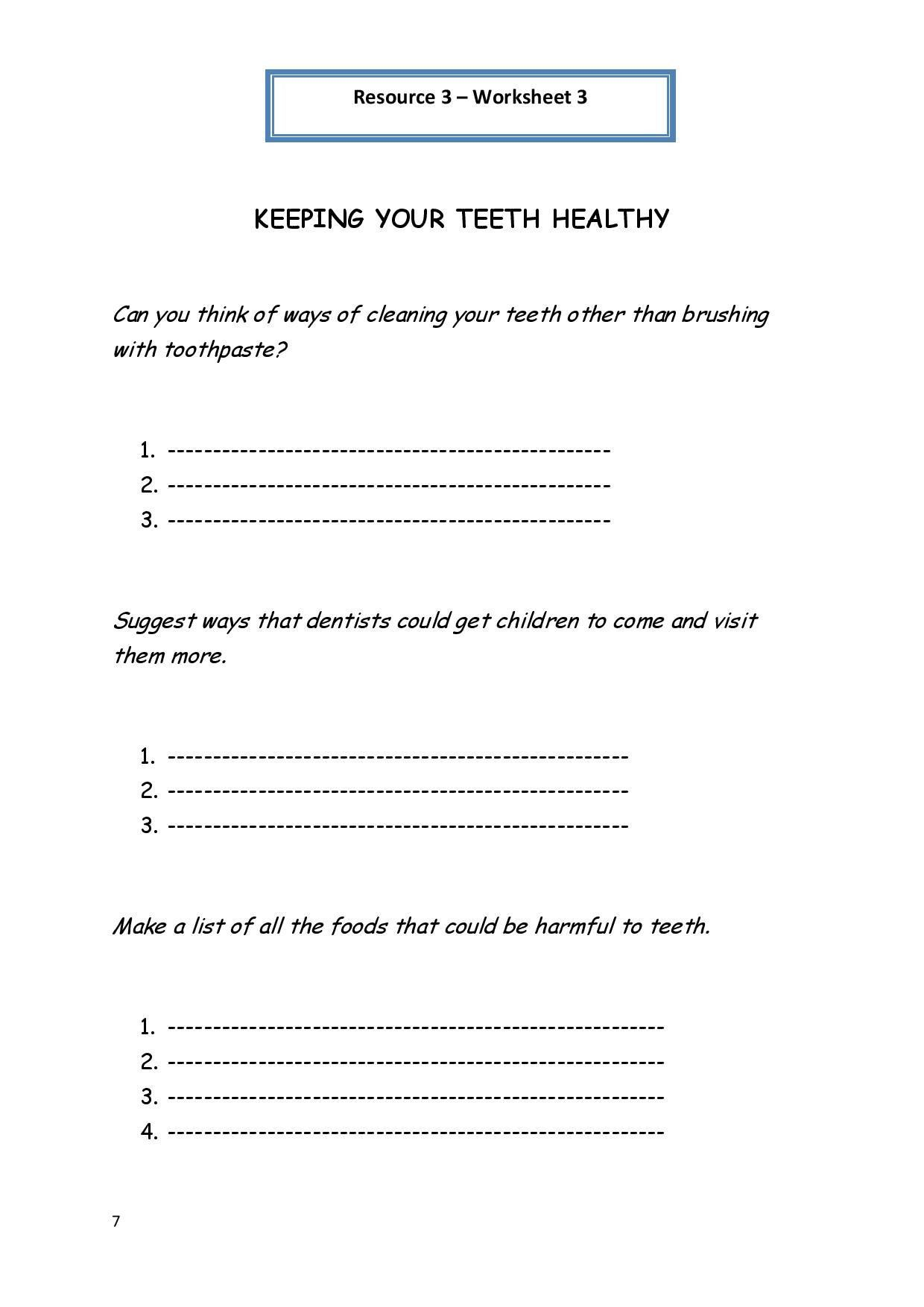 2nd Grade Health Worksheets