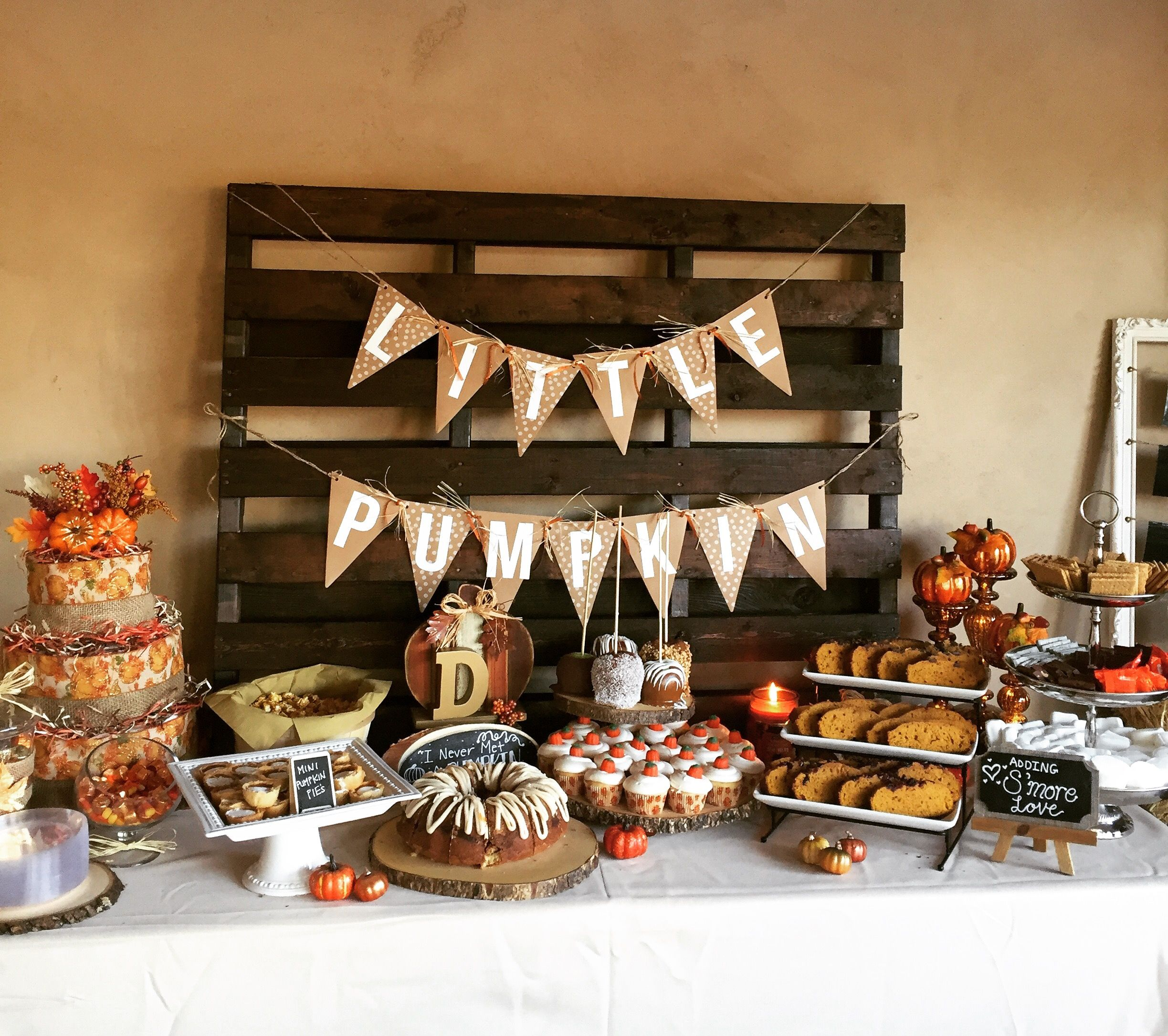 UnforgettableMomentsEventRentals.com Little Pumpkin Baby Shower #DessertBar  #DessertTable #Fall #pumpkin #baby