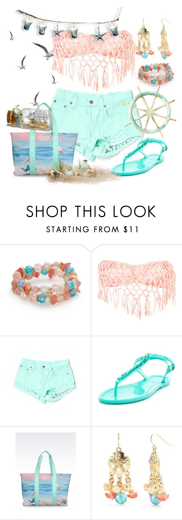 """Beach"" by annetkor ❤ liked on Polyvore featuring Kim Rogers, Rip Curl, Carmar and EA7 Emporio Armani"
