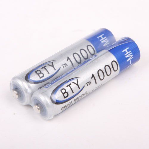 2 X BTY Home Ni-mh AAA 1000mah 1.2v Rechargeable Battery by BuyInCoins. $0.89. Voltage: 1.2V Capacity : 1000mAh Chemistry: Ni-MH Highest Quality Digital Battery,can recharge over 1000 times  This items is 100% brand new and shipped directly from Buyincoins Hong Kong warehouse, which will take 7-14 working days to arrive US/Canada.