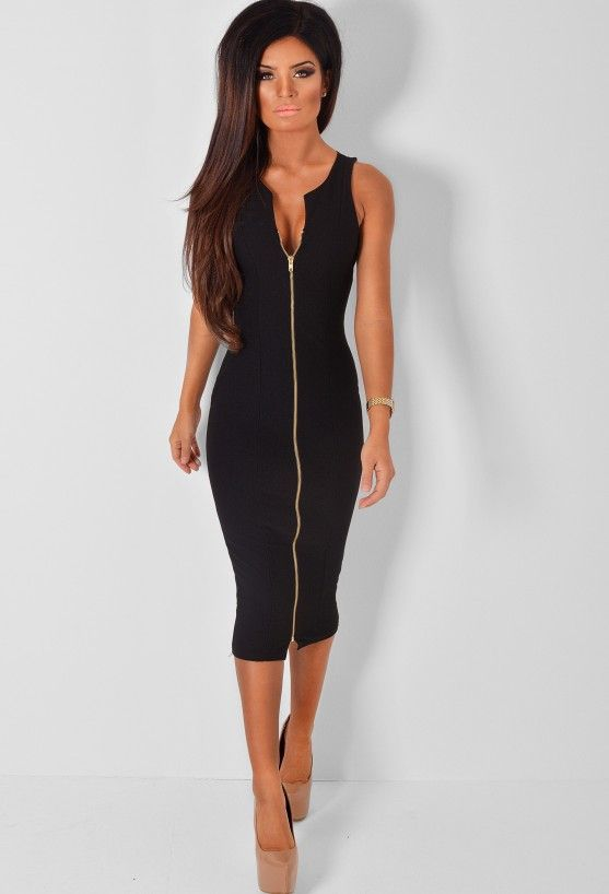 e6e02472ec AALIYAH BLACK ZIP FRONT MIDI DRESS Stretch Bodycon Plunge Dress with Gold  Zip £24.95