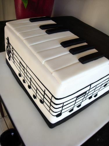 Black and white piano keyboard music notes cake just saying