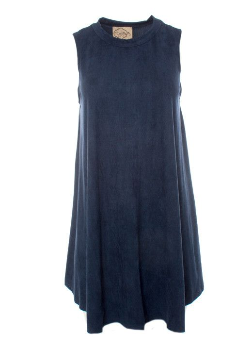 DejaVu Suede Easy Fitting Tunic Dress with Stand Collar (Navy) This adorable stretch suede sheath dress can be worn alone with tights and boots, or layered over your favorite fitted long sleeve top as a jumper.  This style has our best selling fit...fitted through the bust and slightly flared from the bust to hem. This look is perfect for any age!