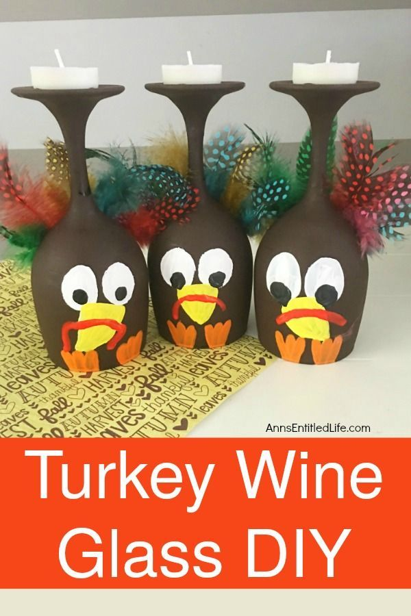 Turkey Wine Glass Diy Make Your Own Adorable Turkey Wine Glass This Easy Ste Wine Glass Crafts Easy Diy Thanksgiving Decorations Thanksgiving Decorations Diy