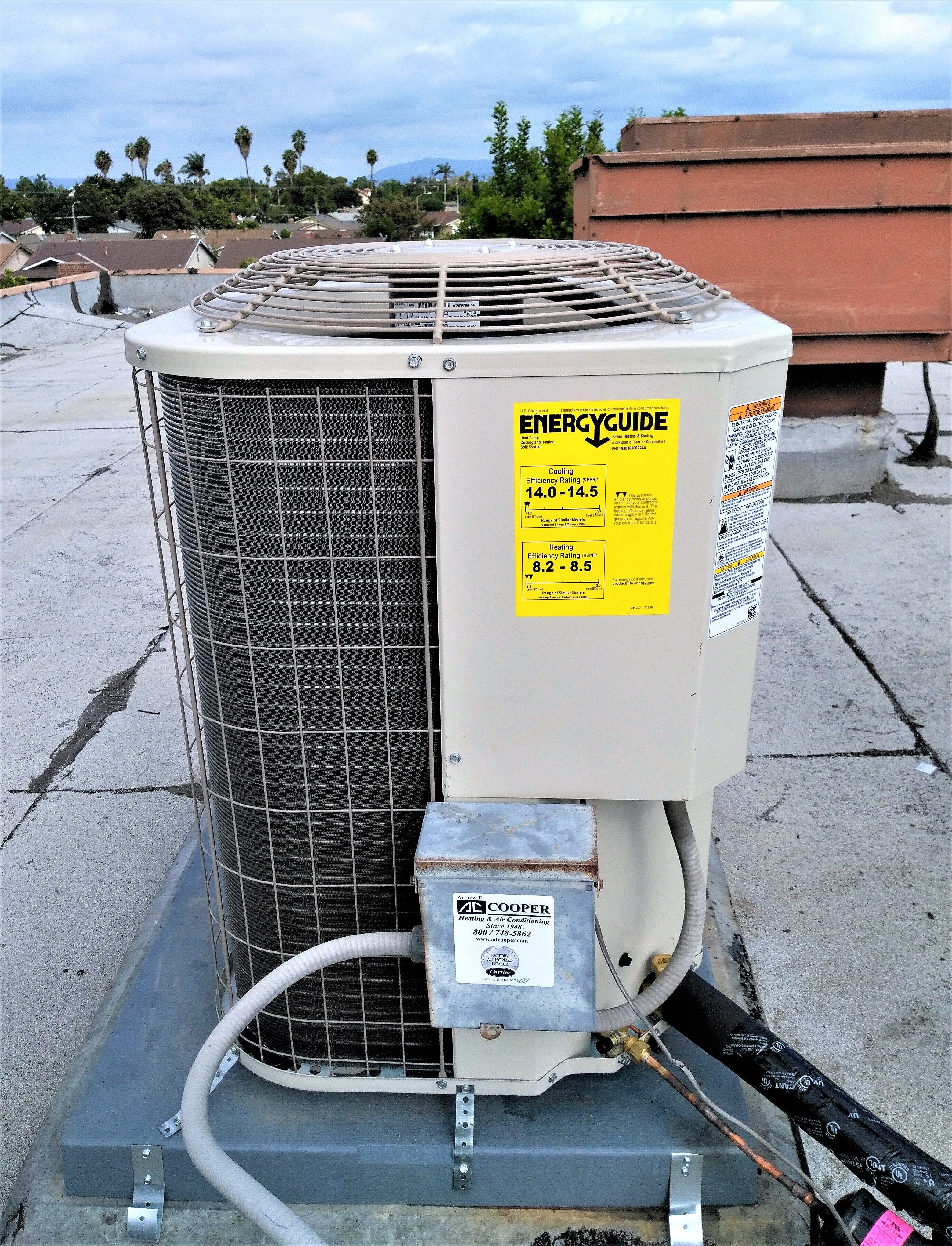 A Recent Installation Job In Anaheim Payne Condenser On The Roof