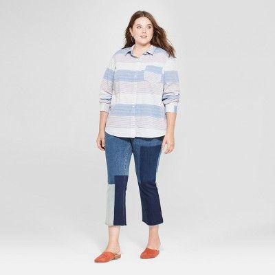 facebdfb68e Women's Plus Size Striped Alamosa Poplin Long Sleeve Shirt - Universal  Thread? Blue 1X #Alamosa, #Poplin, #Striped