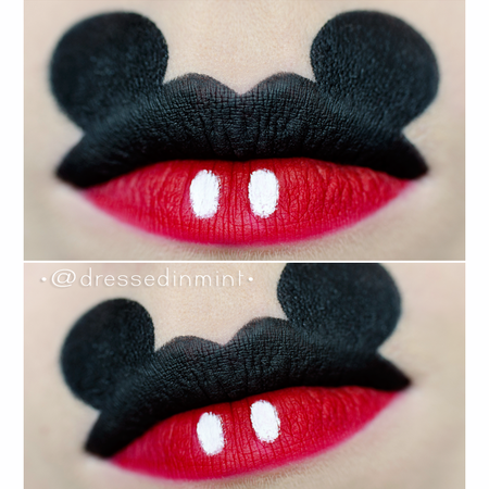 mickey mouse inspired lips look lipstick red howto