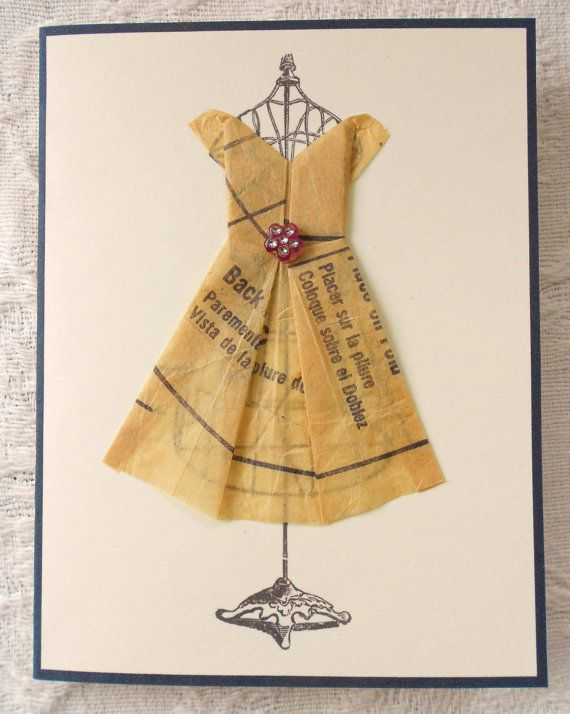 Vintage Clothe Pattern Origami Dress on Wire Dress Form Print Blank Card