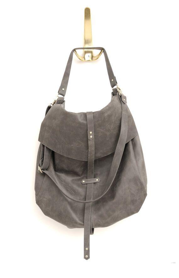 9487c0083f Classic Handmade Leather Handbag in Grey