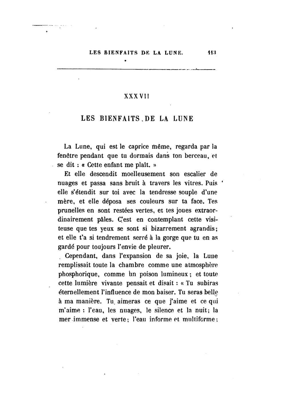 Les Bienfaits De La Lune Baudelaire Petits Poèmes En