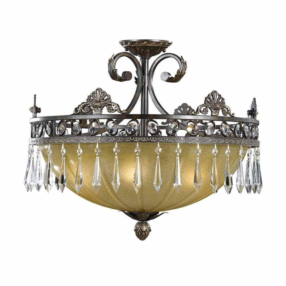 Le Grandeur 5 Light Semi Flush Shown In English Bronze With