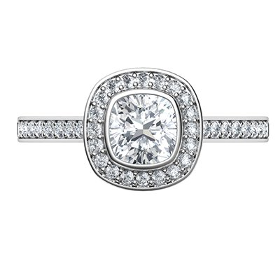 Low Profile Cushion Bezel With Diamonds Halo 1 3 Carat Side Diamonds View 3 Low Profile Engagement Rings Engagement Ring Prices Engagement Rings