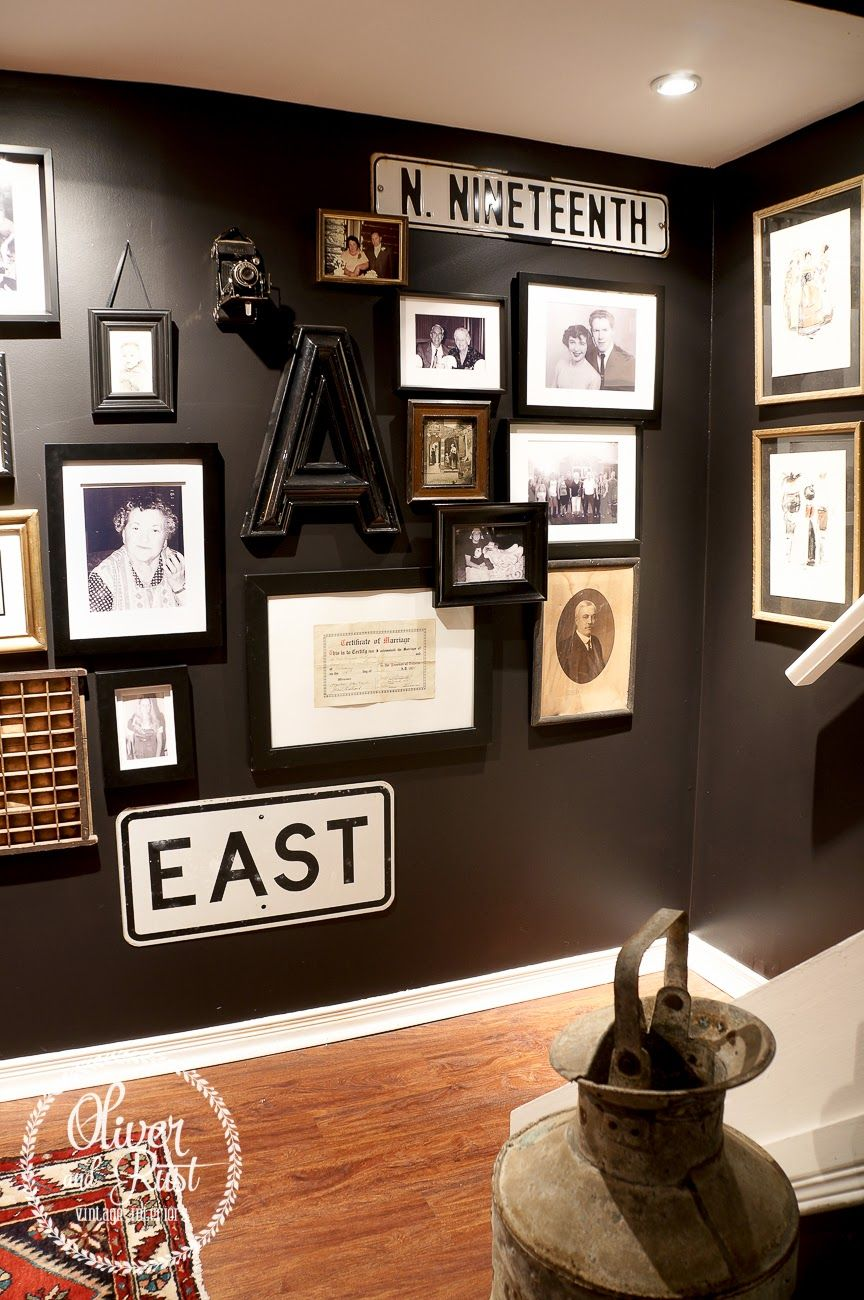 Love this dramatic black paint color oliver and rust for Black wall room
