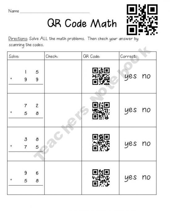 QR Code Math - check your answer by scanning the code | QR ...