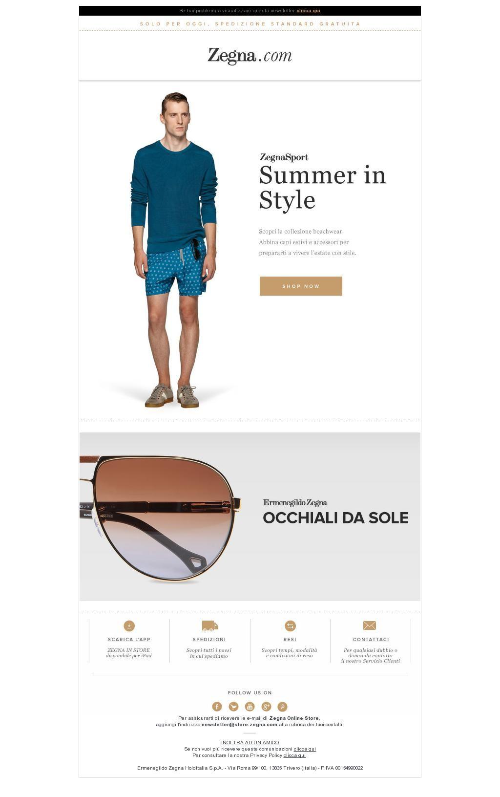 Zegna Sport: Summer Must-Haves & Spedizione Gratuita