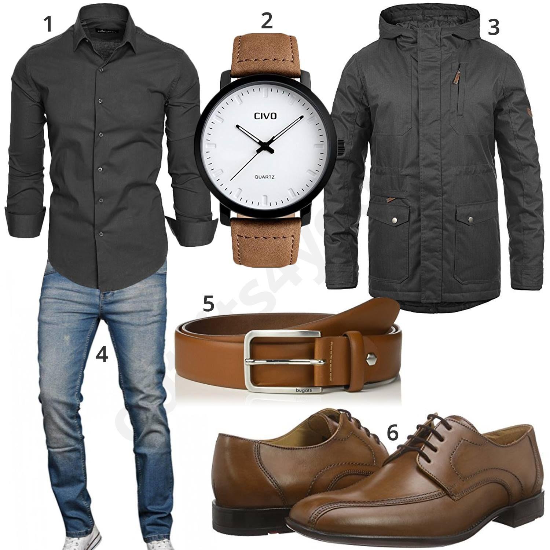 the best attitude 63636 9574f Eleganter Herren-Style mit grauem Hemd und Jacke | Outfits ...