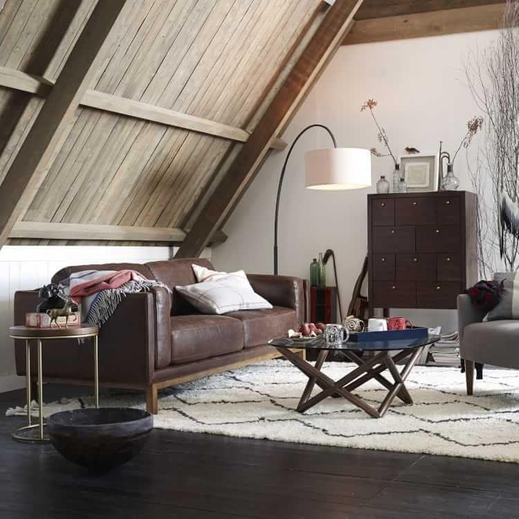 Dekalb Leather Sofa Moroccan living room, Overarching