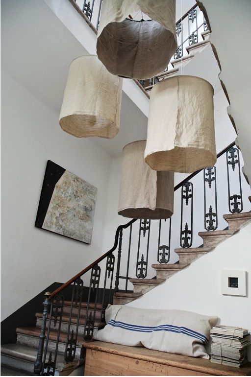 DIY Rustic Linen Lampshades from Italy Iluminación, Luces y Escalera - lamparas para escaleras