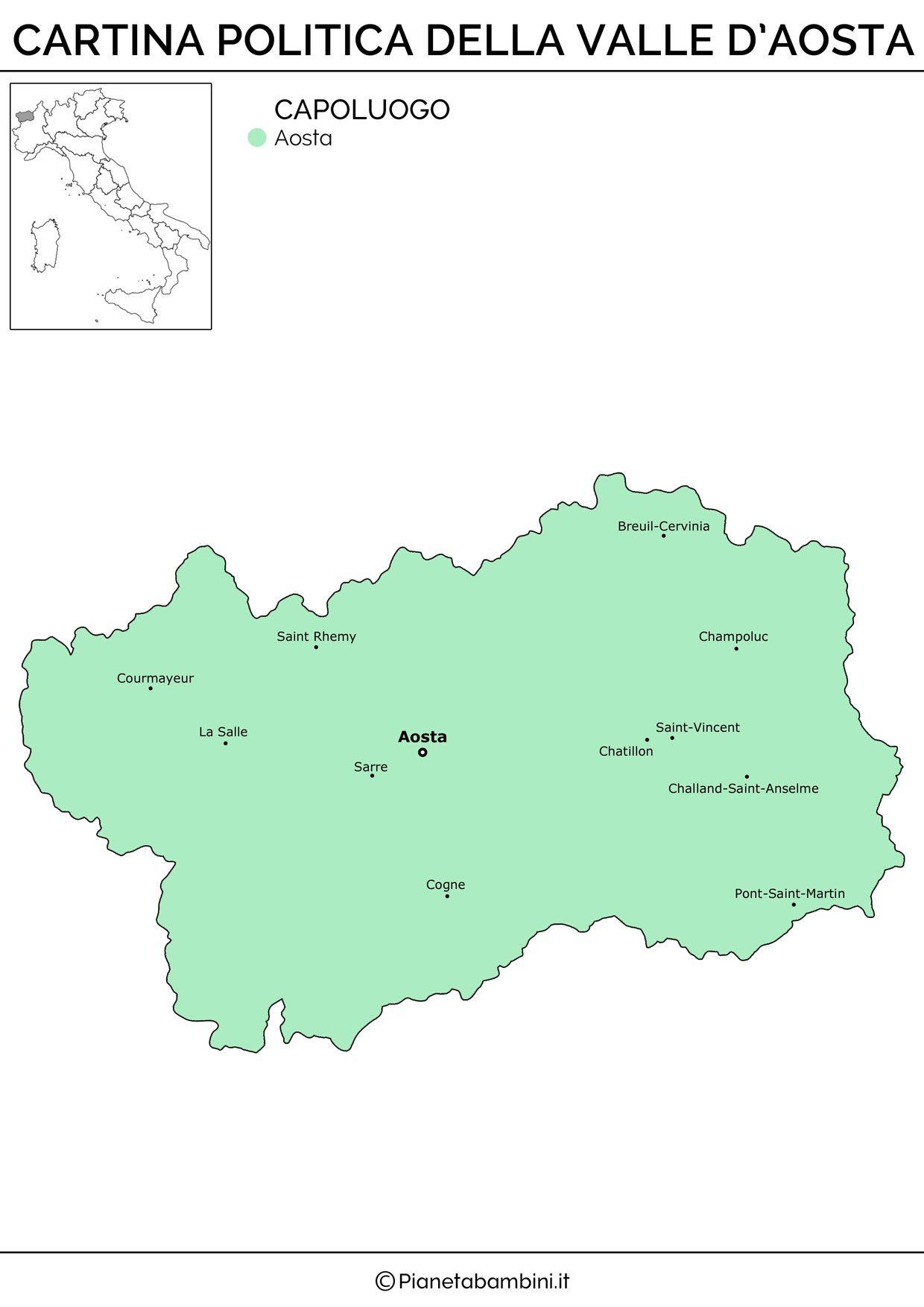 Cartina Muta Fisica E Politica Della Valle Daosta Da Stampare