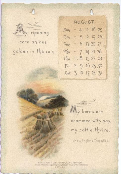 The Longfellow Calendar For 1895 Vintage Calendar Print