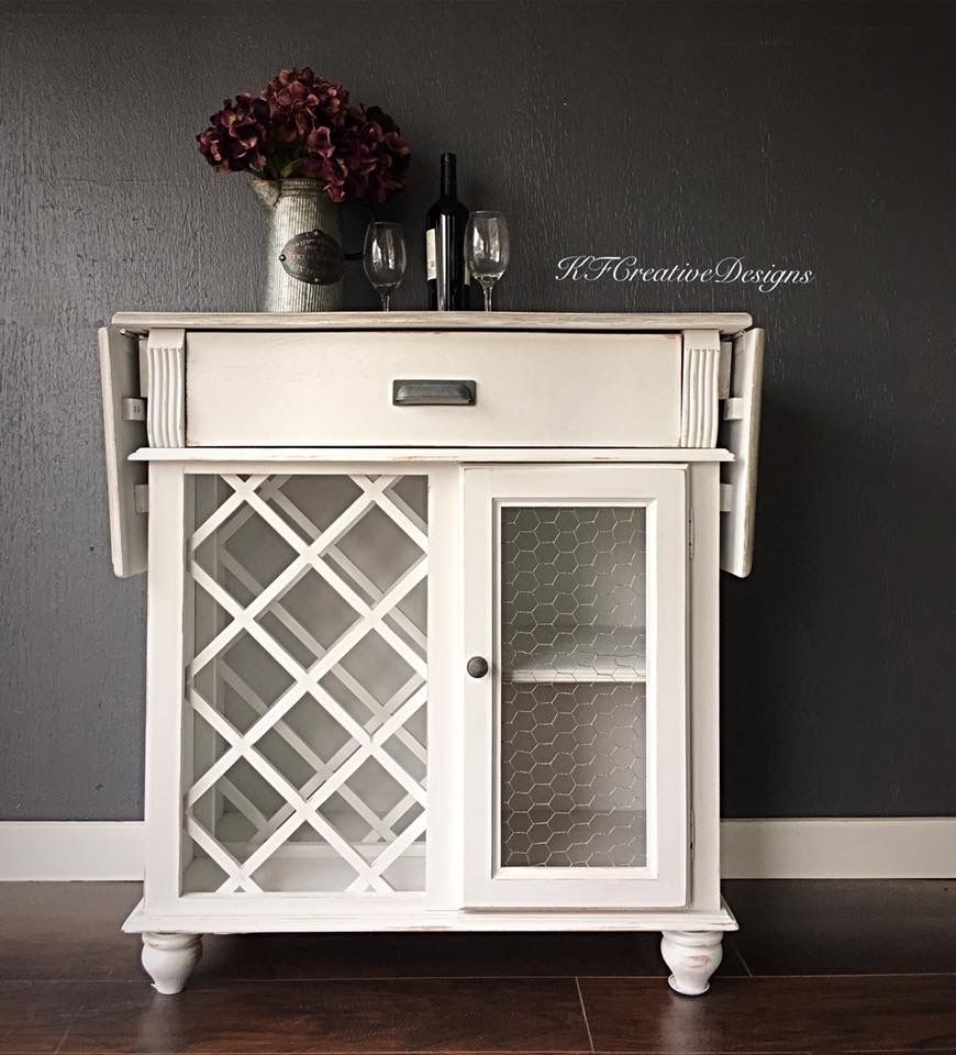 Farmhouse Style Wine Bar Cabinet In Antique White Chicken Wire And Faux Driftwood Finish On The Top Wine Bar Cabinet