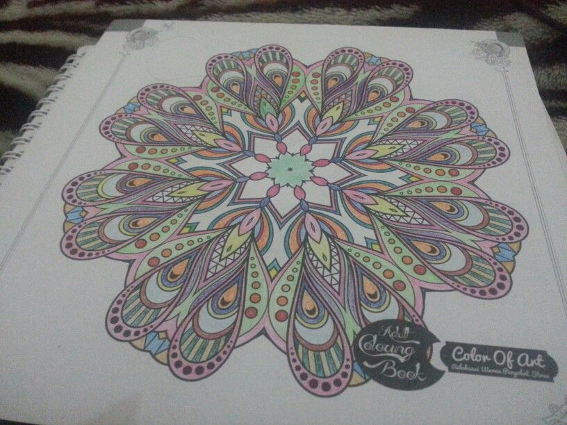 A finished project from Adult Coloring Book - Color of Art. I used color pencils for this one. #coloring_for_adult #relaxing_art #mandala
