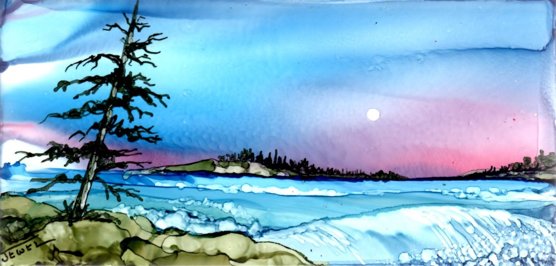 """Top of the Falls By Jewel Buhay alcohol ink on 3x6"""" ceramic tile"""
