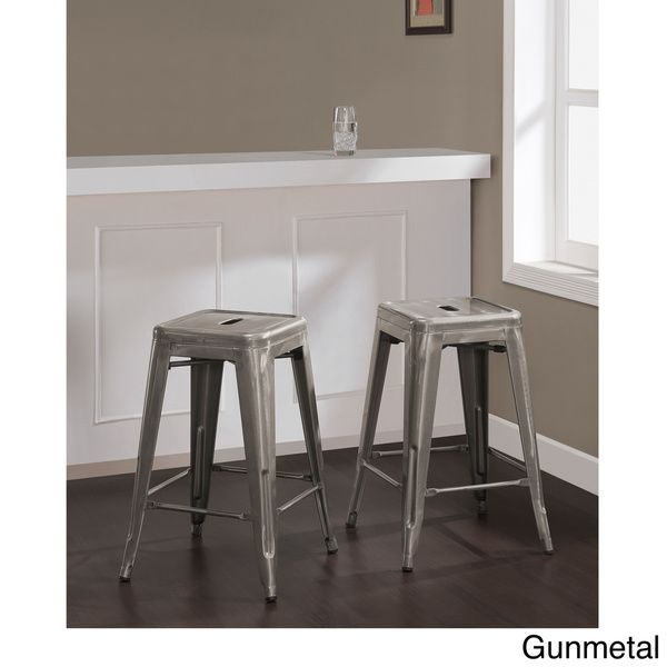 Tabouret 24-inch Vintage and Gunmetal Counter Stool (Set of 2) - Overstock™ Shopping - Great Deals on Bar Stools