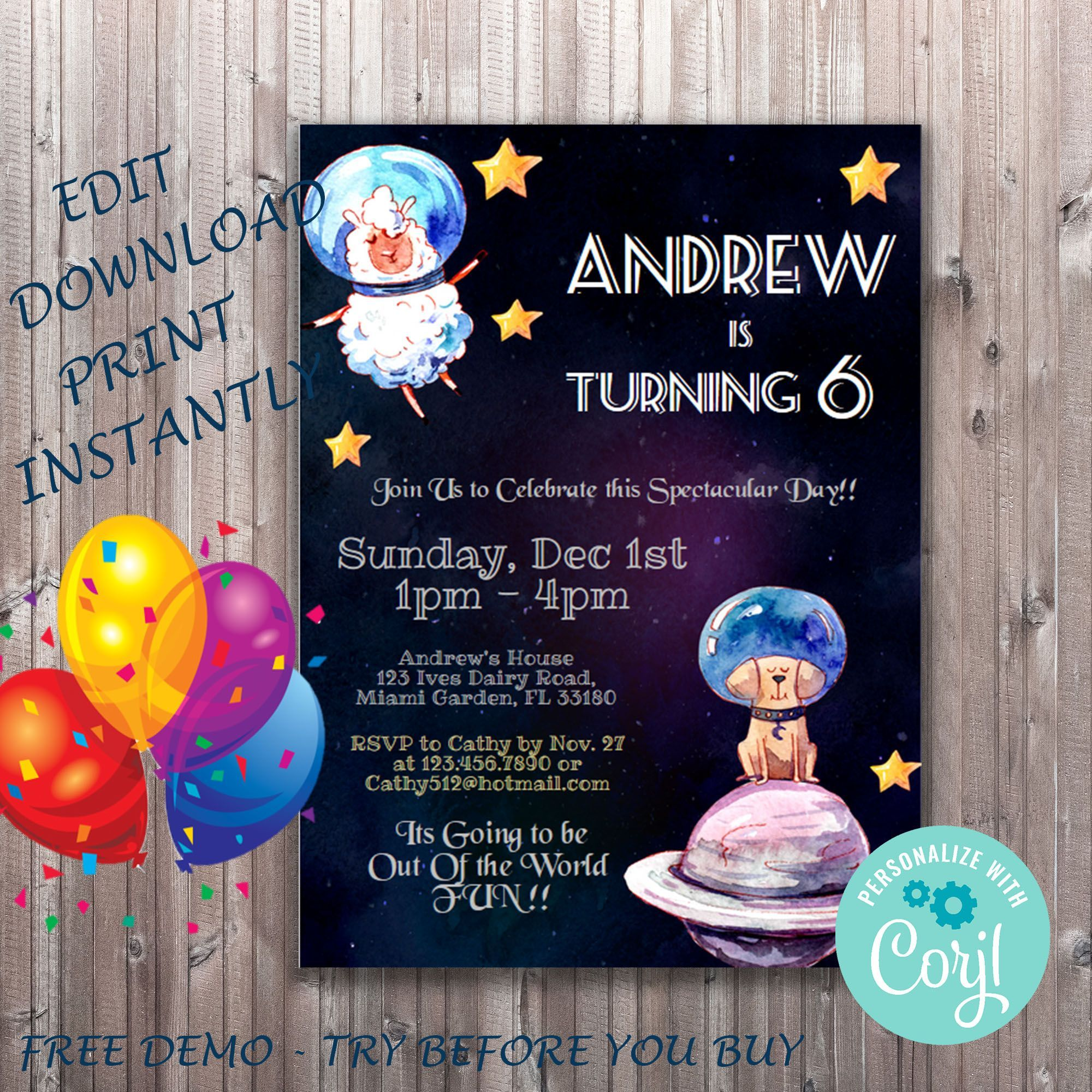 Outer Space Birthday Party #outerspaceparty Outer Space Birthday Invitation, Rocket Party, Planet Invitation, Animal Design, DIY Invitation template for Any Age #outerspaceparty
