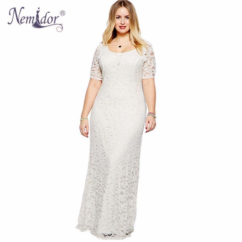 5934cbb9d0 Nemidor Women Elegant White Lace Party Dress Plus Size 7XL 8XL 9XL Short  Sleeve Floor Length Summer Casual Long Maxi Dress