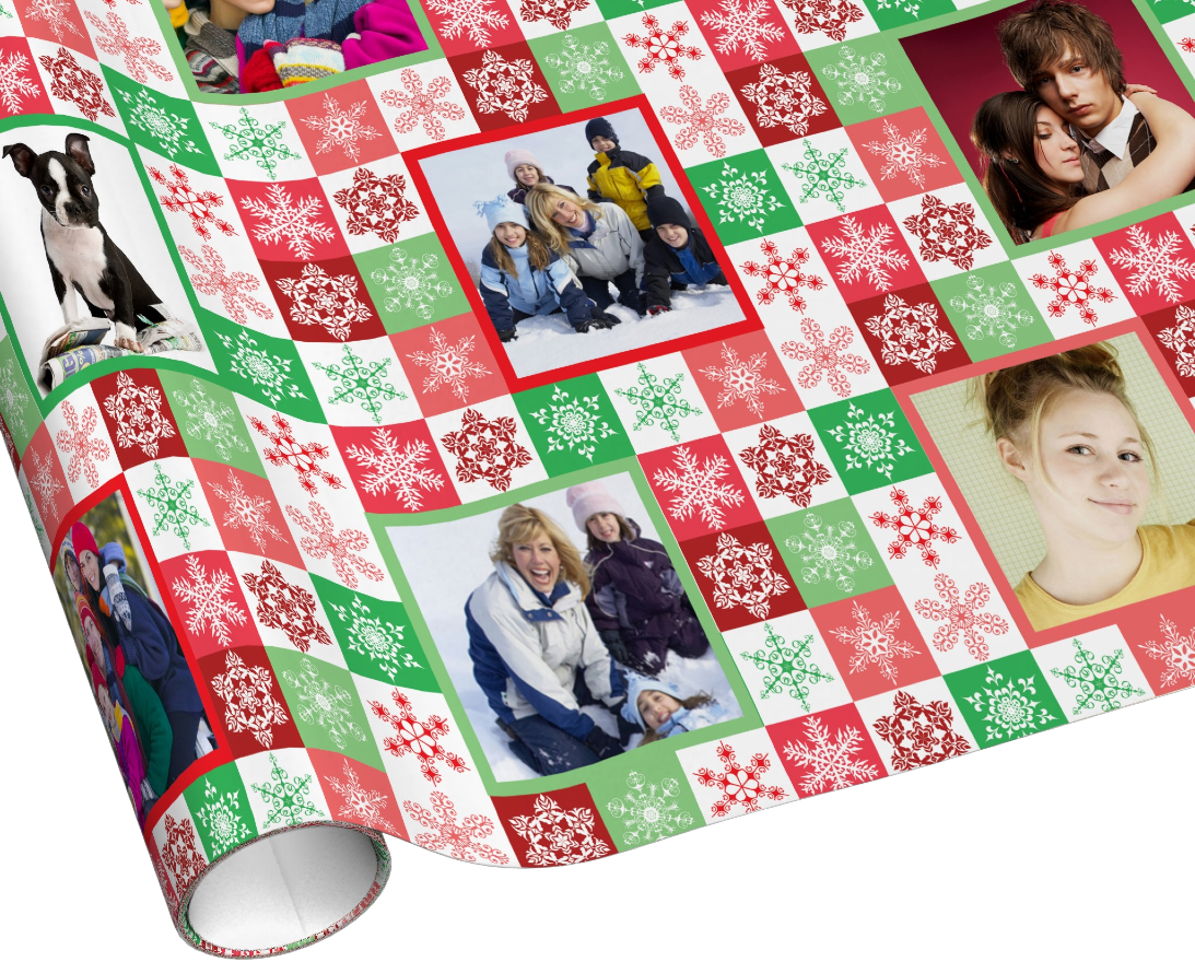 Snowflake Squares Christmas Wrapping Paper - Add your own family and pet photos.