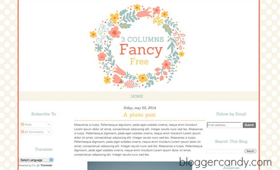 editable blogger templates free - fancy free 3 columns super cute floral blogger template