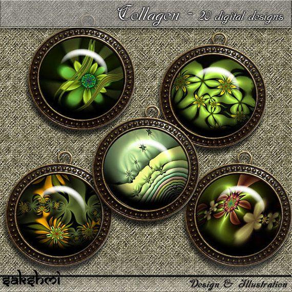 Fraktale Blumen – Digital Design - Set 5 - 20 Buttons zum Ausdrucken. 300 DPI