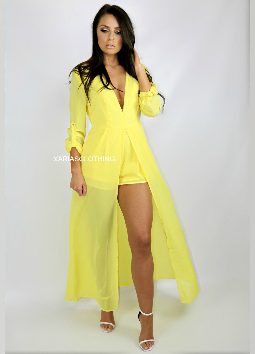 7c7744254b 883- V NECK CHIFFON MAXI ROMPER DRESS - YELLOW