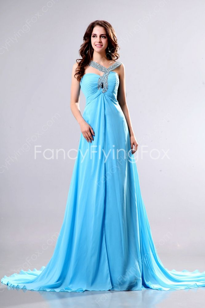 Unique Straps Long Blue Prom Dress with Keyhole