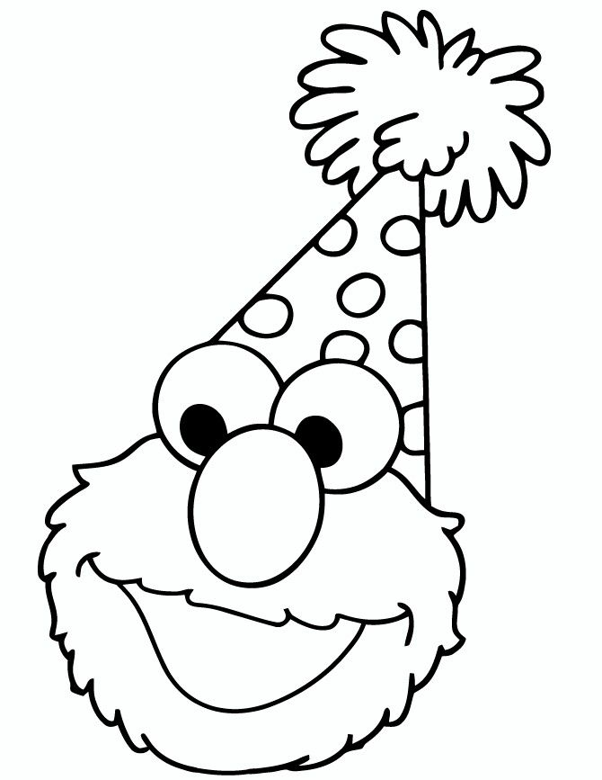 Elmo Birthday Hat Birthday Coloring Pages