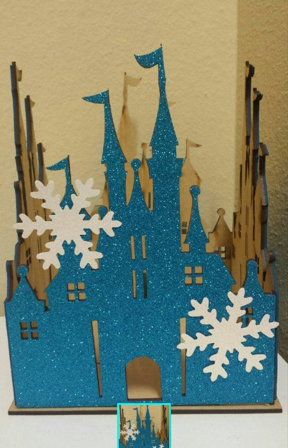 Frozen castle centerpice with snowflakes perfect for frozen birthday party https://www.etsy.com/listing/257162635/princess-wood-castle-with-snowflakes